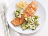 Soy-Glazed Salmon With Cucumber-Avocado Salad
