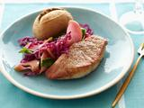 Pork Tenderloin Steaks with Wilted Cabbage and Apples
