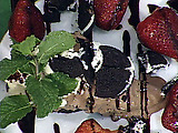 Oreo Cookie and White Chocolate Mousse Pie with Macerated Strawberries