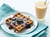 Waffled Blueberry French Toast with a Carrot-Ginger Smoothie