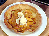 Emeril's Warm Peach Pancakes with Vanilla Bean Ice Cream and a Drizzle of Warm Caramel Sauce