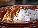 Chicken Enchiladas with Green Sauce and Long-Grain Rice