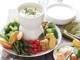 Easy Cheesy Fondue with Fingerling Potatoes, French Bread and Select Vegetables