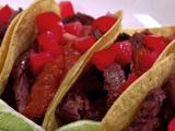 Grilled Skirt Steak Tacos with Roja Salsa