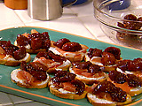 Winey Figs, Prosciutto and Ricotta Crostini