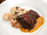 Grilled Skirt Steak with Sweet Roasted Tomato Sauce and Roasted Shrimp, Black Bean and Orzo Salad
