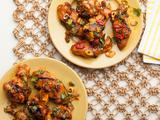 Smoky Grilled Chicken Wings with Pickled Red Chiles, Dates and Fresh Mint