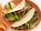 Sunny Anderson's Steak Fajitas with Chimichurri and Drunken Peppers