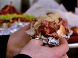 Pink's Polish Pastrami Reuben Dog