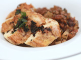 Pan Roasted Chicken Breast with Pecan and Potato Hash and Spicy Brown Butter Sauce