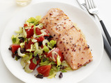 Salmon With Warm Tomato-Olive Salad
