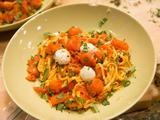 Fire Island Burst Tomato Pasta with Lemon Herbed Goat Cheese Balls