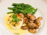 Halibut Crab Cake Roulade with a Lemon Cream Sauce, Green Beans and Truffle Roasted Potatoes