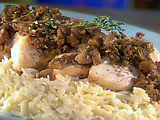 Pan-Seared Chicken with Porcini-Chestnut Sauce with Steamed Spinach and Orzo