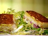 Croque Monsieur Style Monte Cristo Croutons with Frisee Salad and Shallot Vinaigrette