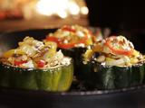 Roasted Acorn Squash with Mushrooms, Peppers and Goat Cheese