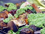 Grilled Swordfish Kabobs with Fresh Herb Pesto Sauce