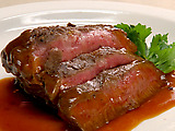 Flatiron Steak with Herbed Red Bliss Potatoes, Red Onion Marmalade and Red Wine Demi-Glace