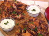 Spicy Chinese Five-Spice Rubbed Chicken Wings with Creamy Cilantro Dipping Sauce