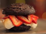 Chocolate Whoopie Pies with Fresh Strawberries and Bruleed Marshmallows