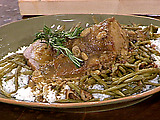 Pork Roast with Bacon, Mushroom Gravy and Southern-Style Smothered Green Beans