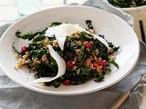 Kale and Farro Salad with Aged Goat Cheese