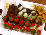 Chocolate Covered Gooseberries, Strawberries, Figs, and Biscotti