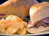 Steak Sandwiches with Honey Garlic Mayo and Seared Red Onions