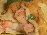 Shrimp and Salt Cod Ravioli with Yellow Pepper Romesco Sauce