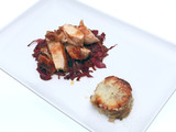 Chinese Five-Spice Chicken with Red Cabbage and Potato Gratin