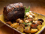 Rib Roast with Red Wine Demi-Glace and Roasted White Potatoes and Asparagus