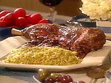 Roasted Leg of Lamb with Saffron and Olive Salsa