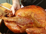 Apple-Sage Glazed Grilled Whole Turkey with Grilled Apples