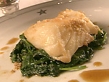 Ginger Sea Bass over Wilted Greens