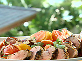 Grilled Pork Tenderloin with Spicy Chile-Coconut Tomato Salad
