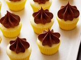 Mini Vanilla Bean Yellow Cupcakes with Creamy Chocolate Frosting