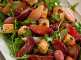 Arugula and Roasted Fruit Salad with Panettone Croutons