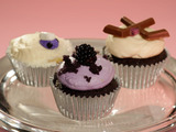 Blue Velvet, Blackberry Curd, and Blackberry Lemon Cream Cheese Cupcakes