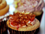 Cinnamon Swirl Sour Cream, Maple Cream Cheese, Strawberry and Bacon Breakfast Cupcake