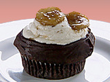 Gilbert Ganache-fried Cupcakes: Chocolate Seltzer Cupcakes with Ganache, Banana Frosting, and Caramelized Banana
