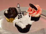 Chocolate Fudge Cupcakes filled with Chocolate Fudge Cookie Bar and Marshmallow Meringue Frosting