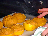 Brandy and Orange-Mashed Sweet Potatoes in Orange Cups