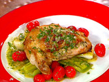 Cipollini Stuffed Chicken Breasts and Poached Leeks with a Dijon Vinaigrette