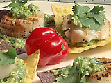 Grilled Sea Scallops on Tortilla Chips with Avocado Puree and Jalapeno Pesto