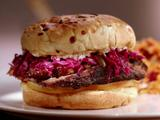 Jewish Brisket Sandwich with Smoked Mozzarella and Red Cabbage Slaw