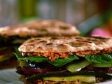 Grilled Veggie Naan-wich with Sun-dried Tomato and Goat Cheese Spread