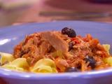 Braised Dark Meat Turkey over Egg Noodles