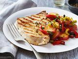 Grilled Swordfish with Potato-Chorizo Salad
