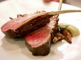Grilled Lamb Chops with Artichoke Puree, Crispy Baby Artichokes and Cerignola Olive