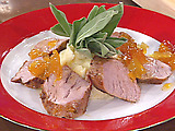 Roasted Pork Tenderloins Glazed with Brandy-Spice Peach Preserves, and Mashed Potatoes